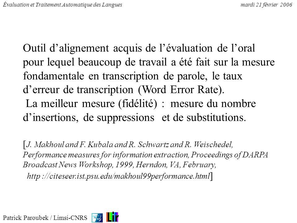 Outil d'alignement acquis de l'évaluation de l'oral pour lequel beaucoup de travail a été fait sur la mesure fondamentale en transcription de parole, le taux d'erreur de transcription (Word Error Rate).