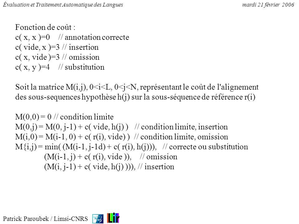 Fonction de coût : c( x, x )=0 // annotation correcte. c( vide, x )=3 // insertion. c( x, vide )=3 // omission.