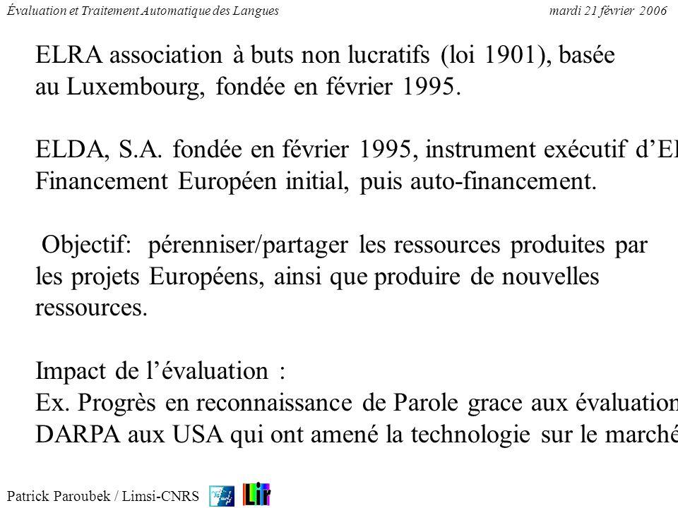 ELRA association à buts non lucratifs (loi 1901), basée au Luxembourg, fondée en février 1995.