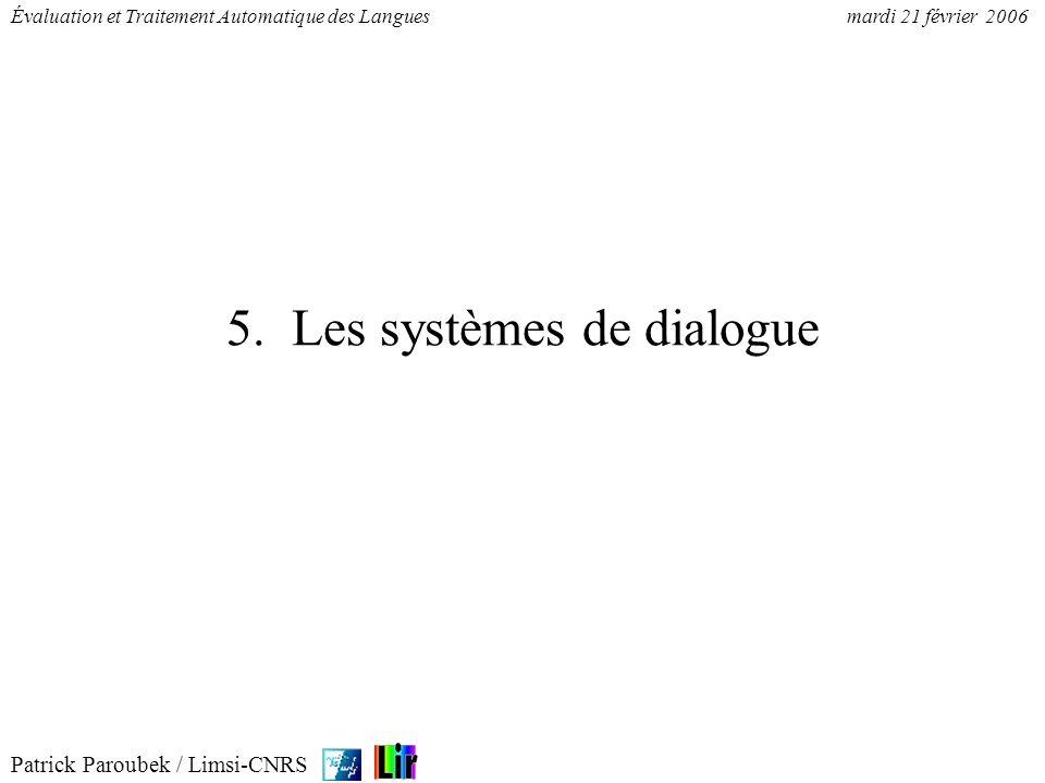 5. Les systèmes de dialogue