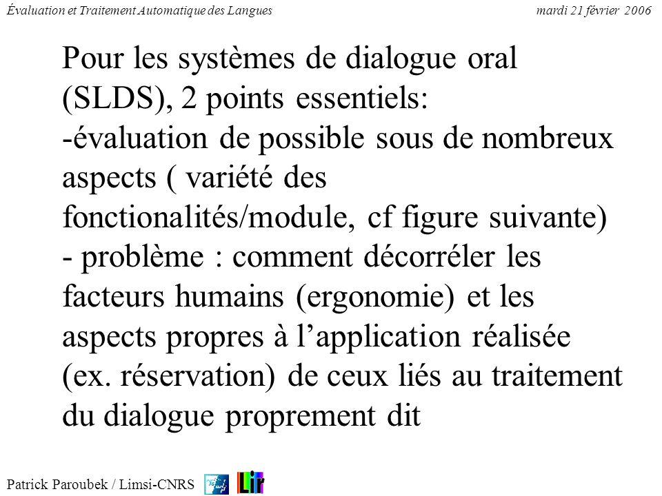 Pour les systèmes de dialogue oral (SLDS), 2 points essentiels: