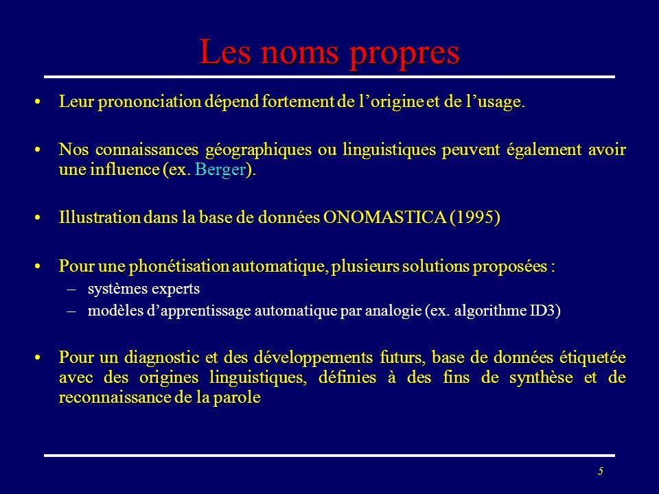 Les noms propres Leur prononciation dépend fortement de l'origine et de l'usage.
