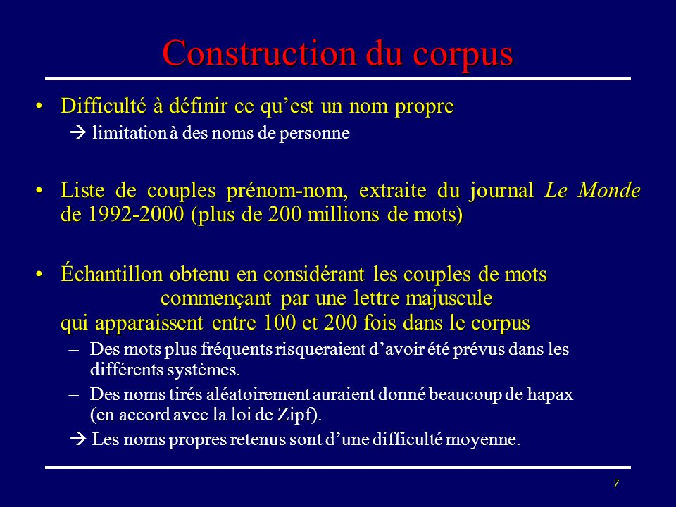 Construction du corpus