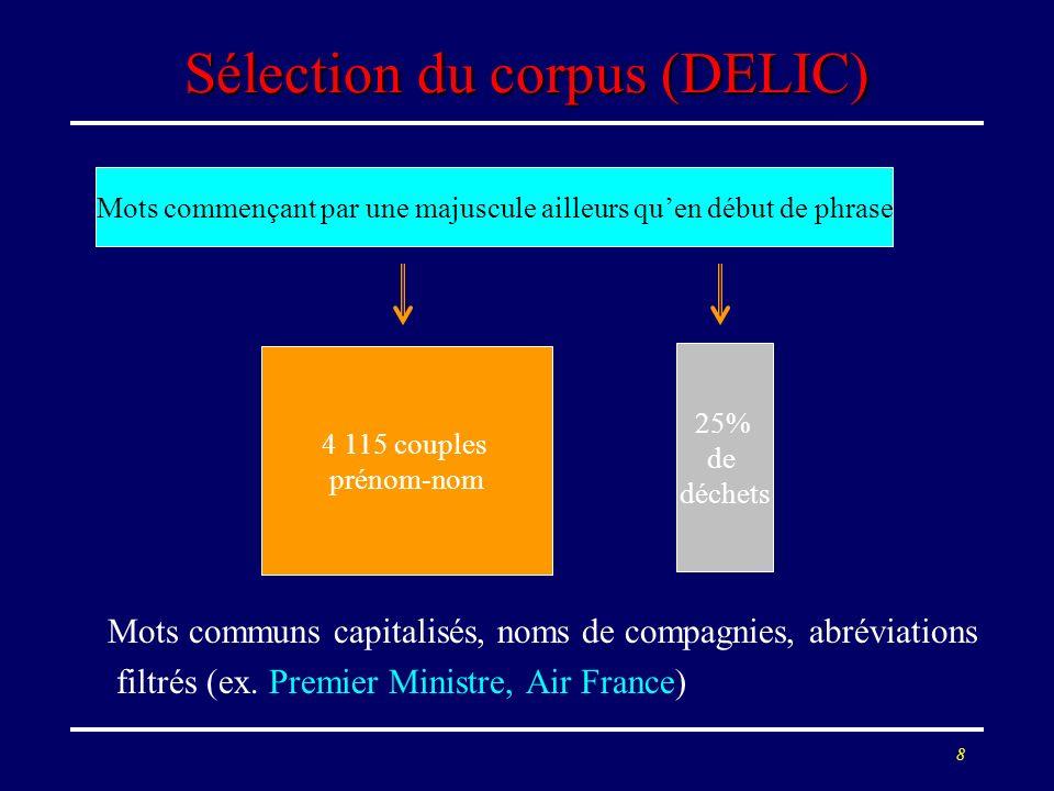 Sélection du corpus (DELIC)
