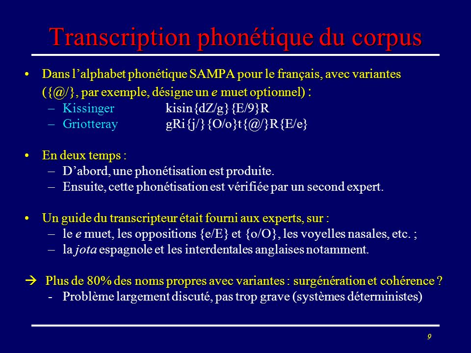 Transcription phonétique du corpus