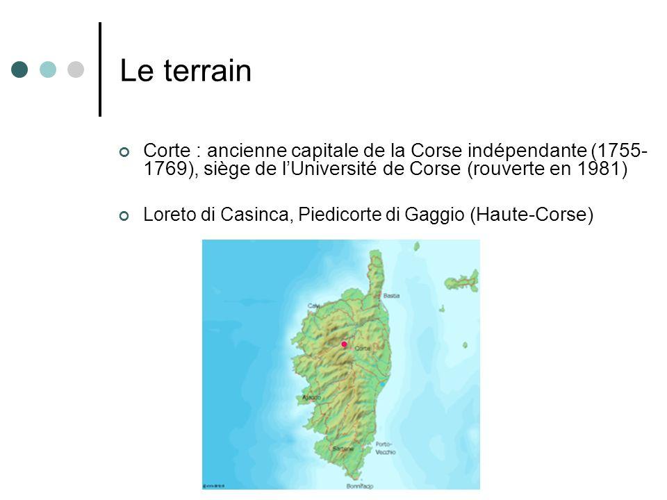 Le terrain Corte : ancienne capitale de la Corse indépendante (1755-1769), siège de l'Université de Corse (rouverte en 1981)