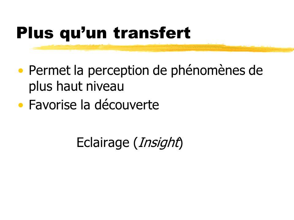 Plus qu'un transfert Permet la perception de phénomènes de plus haut niveau. Favorise la découverte.