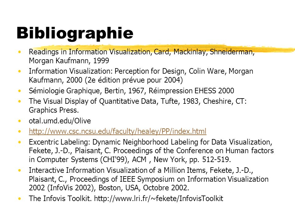 Bibliographie Readings in Information Visualization, Card, Mackinlay, Shneiderman, Morgan Kaufmann, 1999.
