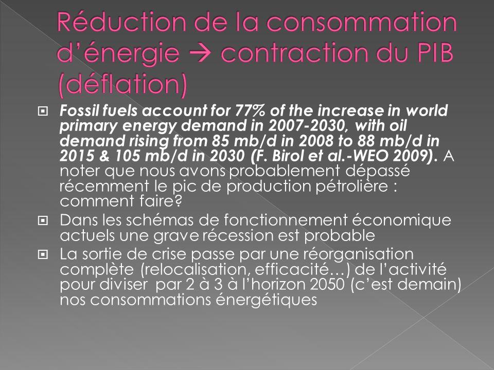 Réduction de la consommation d'énergie  contraction du PIB (déflation)