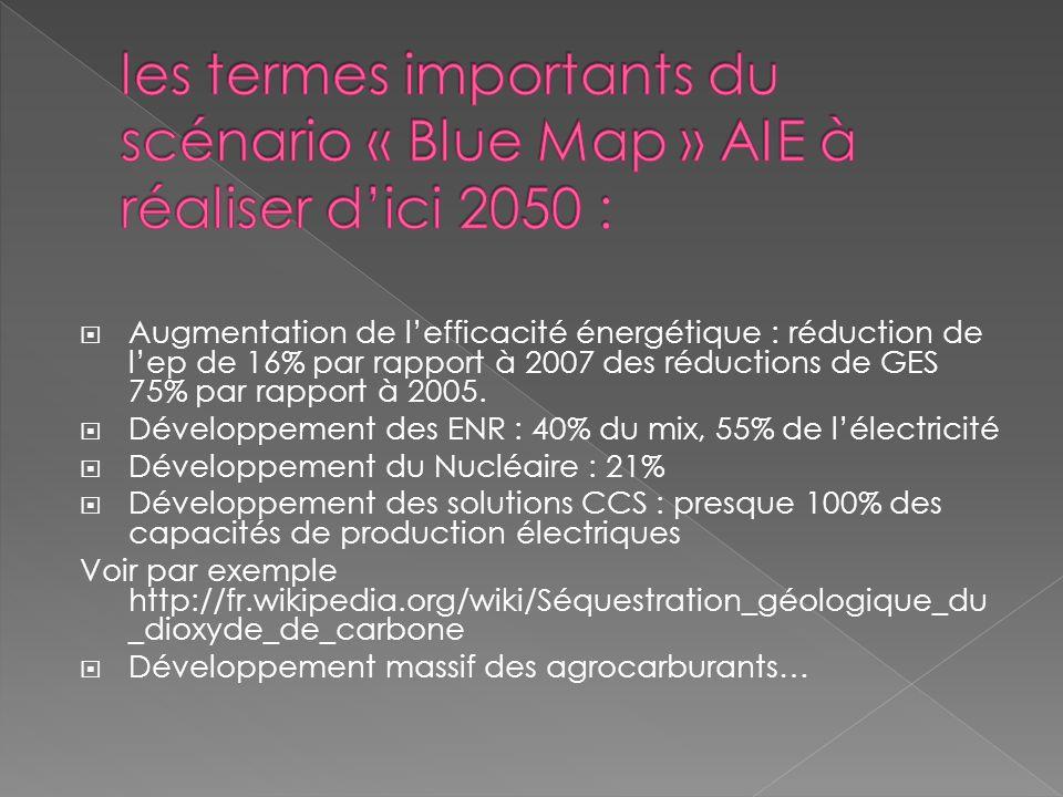 les termes importants du scénario « Blue Map » AIE à réaliser d'ici 2050 :