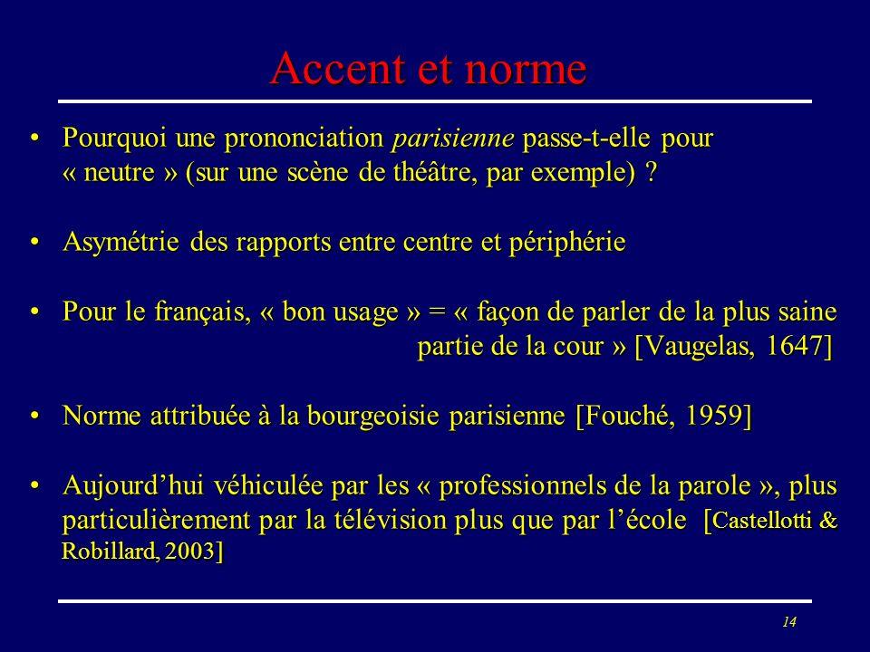 Accent et norme Pourquoi une prononciation parisienne passe-t-elle pour « neutre » (sur une scène de théâtre, par exemple)