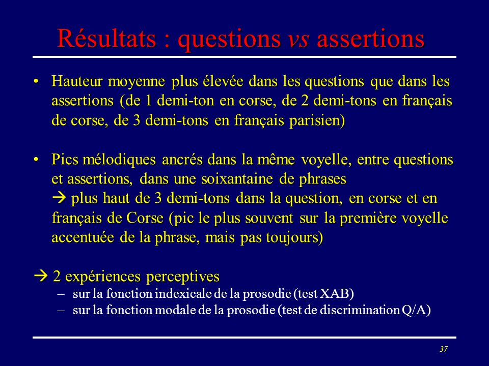 Résultats : questions vs assertions