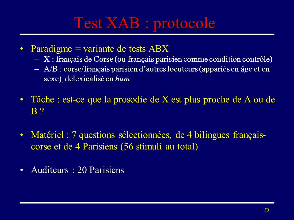 Test XAB : protocole Paradigme = variante de tests ABX