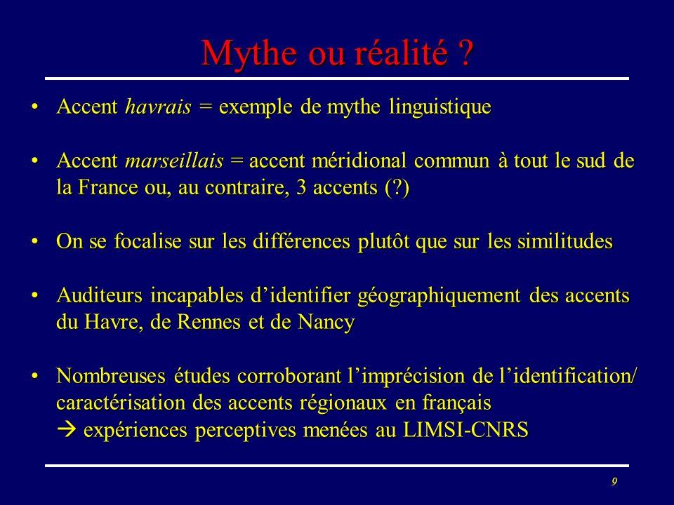 Mythe ou réalité Accent havrais = exemple de mythe linguistique