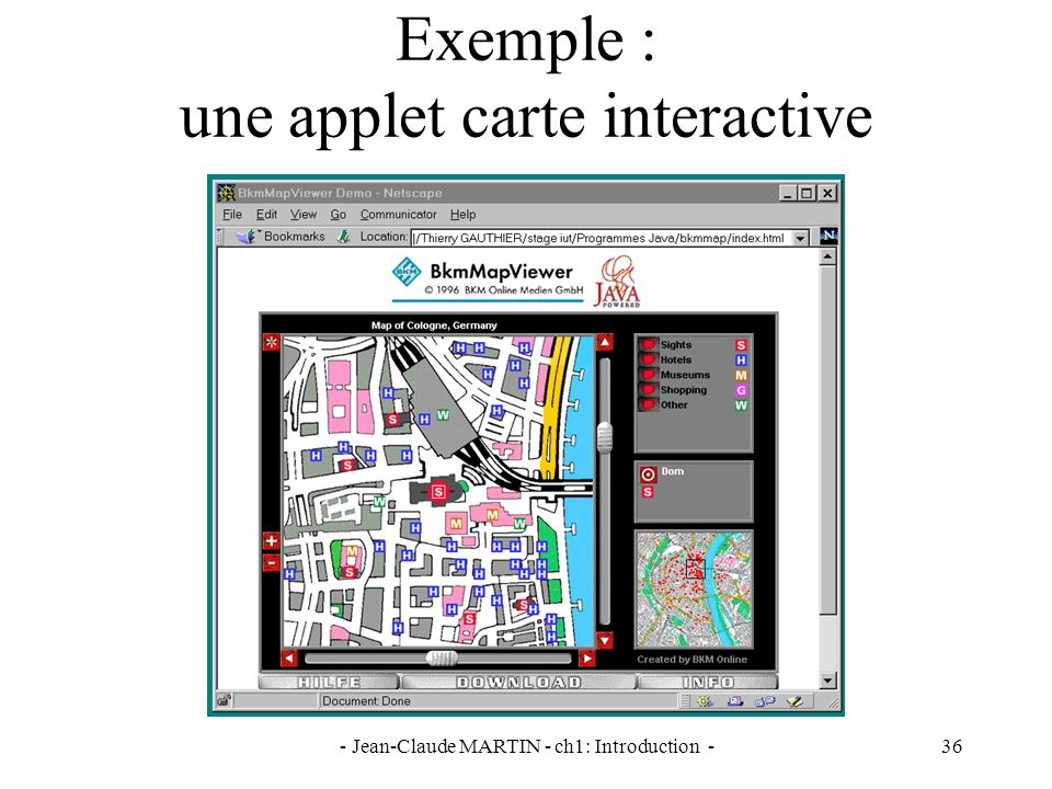 Exemple : une applet carte interactive