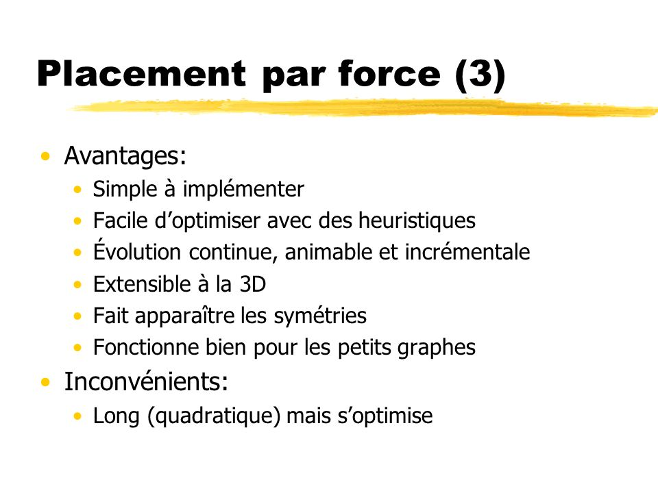 Placement par force (3) Avantages: Inconvénients: Simple à implémenter