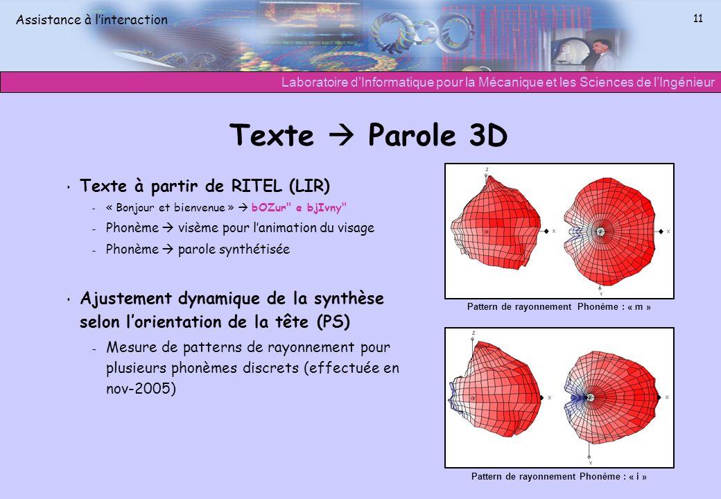Texte  Parole 3D Texte à partir de RITEL (LIR)
