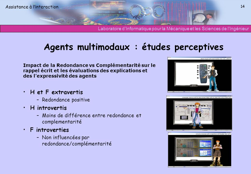 Agents multimodaux : études perceptives