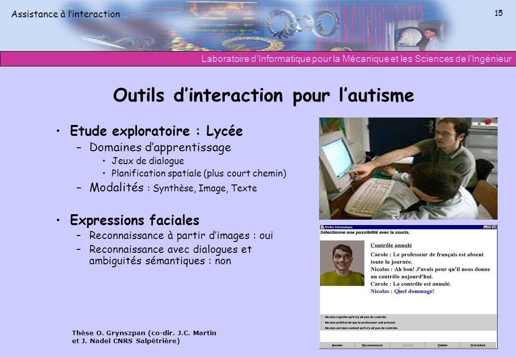 Outils d'interaction pour l'autisme