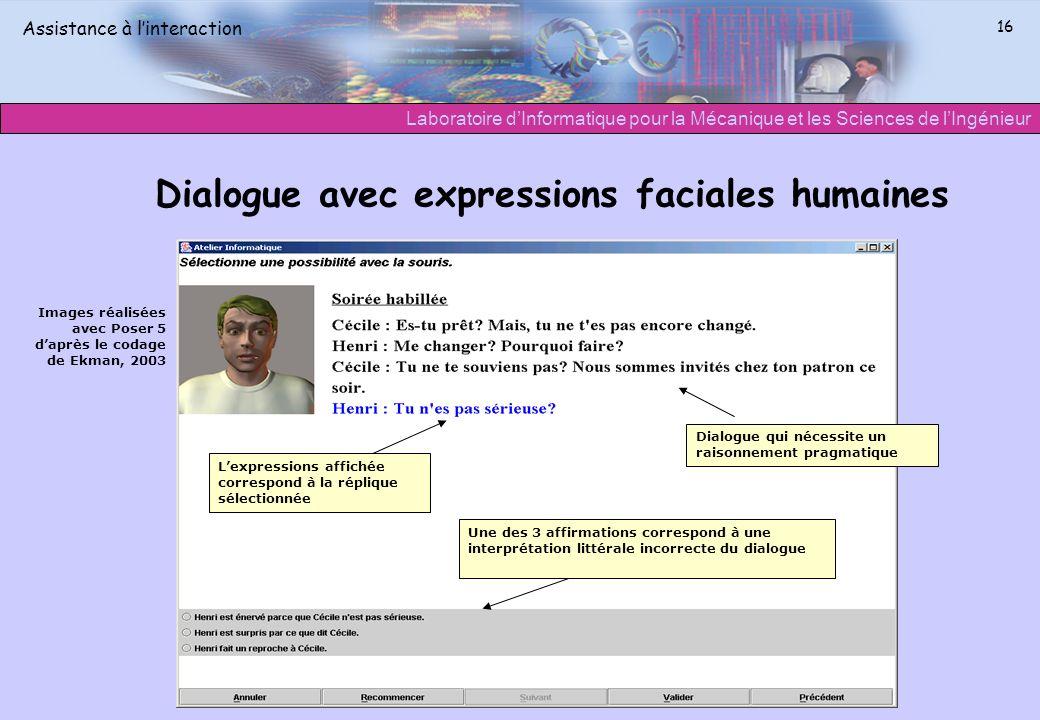 Dialogue avec expressions faciales humaines