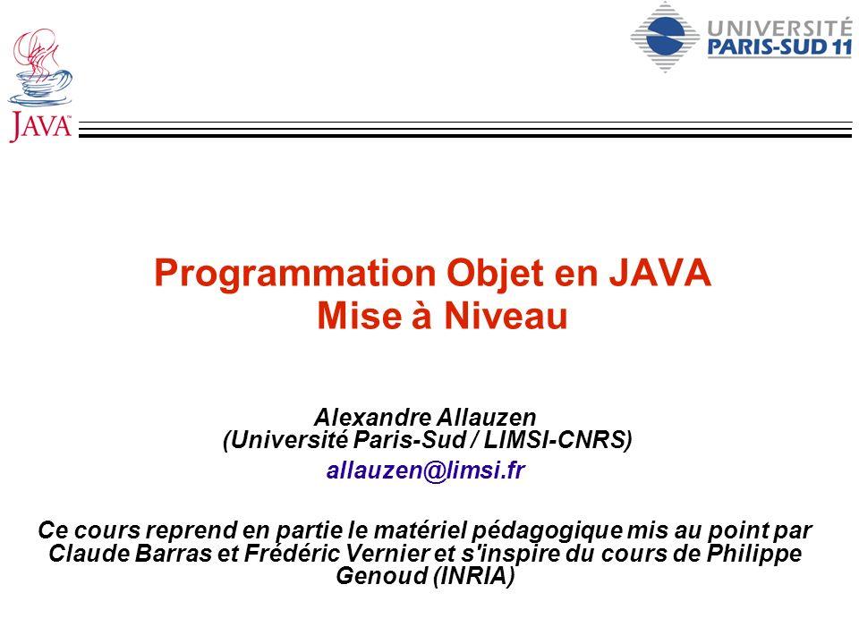 Programmation Objet en JAVA Mise à Niveau