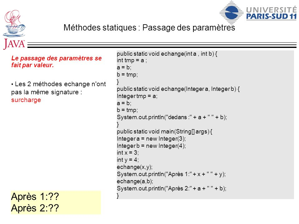 Méthodes statiques : Passage des paramètres
