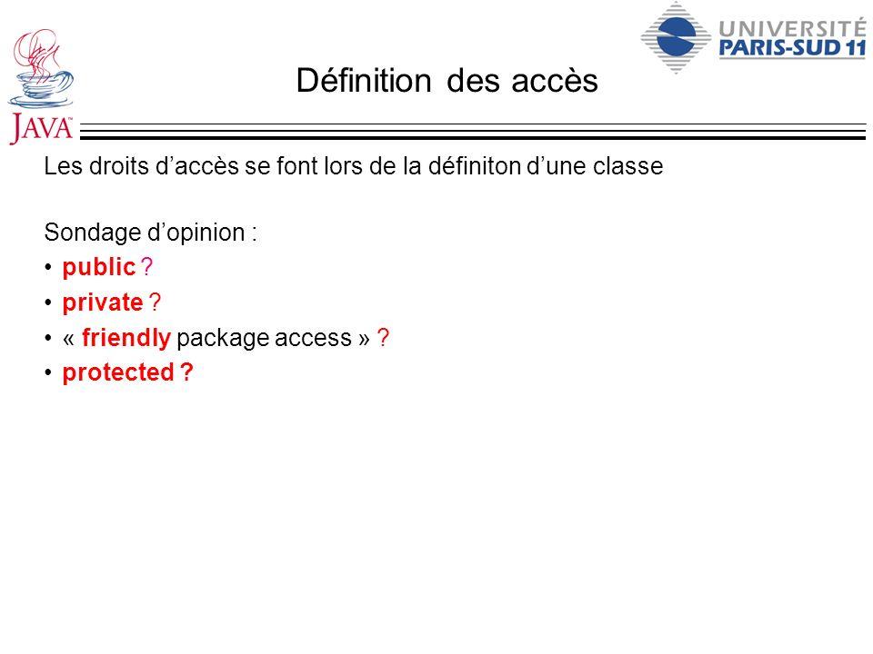 Définition des accès Les droits d'accès se font lors de la définiton d'une classe. Sondage d'opinion :