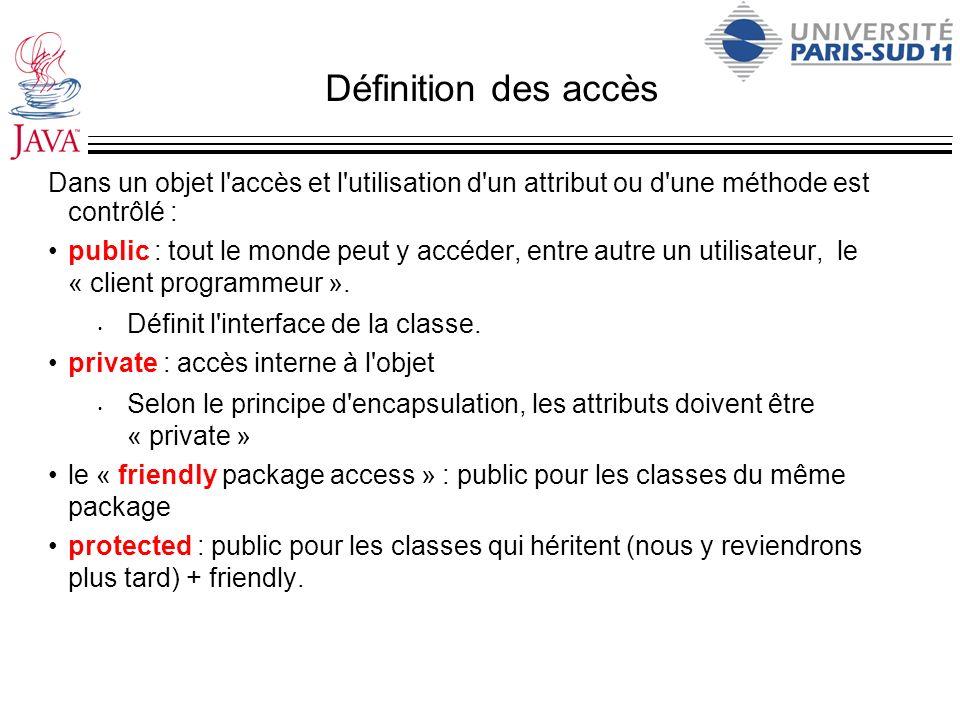 Définition des accès Dans un objet l accès et l utilisation d un attribut ou d une méthode est contrôlé :