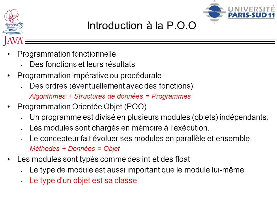 Introduction à la P.O.O Programmation fonctionnelle