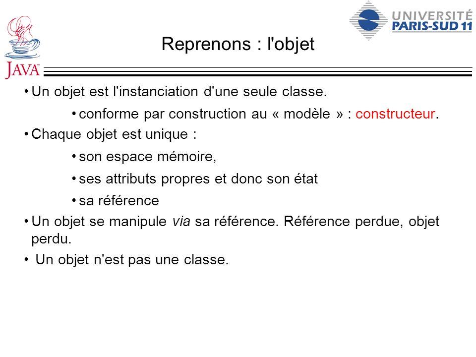 Reprenons : l objet Un objet est l instanciation d une seule classe.
