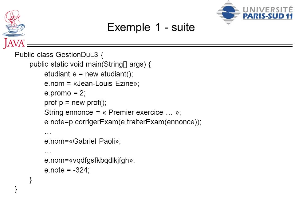 Exemple 1 - suite Public class GestionDuL3 {