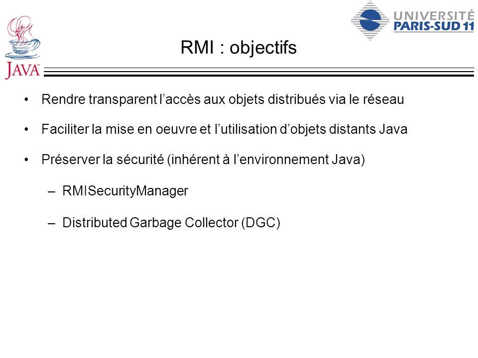 RMI : objectifs Rendre transparent l'accès aux objets distribués via le réseau. Faciliter la mise en oeuvre et l'utilisation d'objets distants Java.