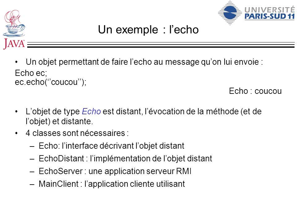 Un exemple : l'echo Un objet permettant de faire l'echo au message qu'on lui envoie : Echo ec; ec.echo(''coucou'');