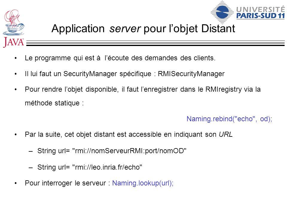 Application server pour l'objet Distant
