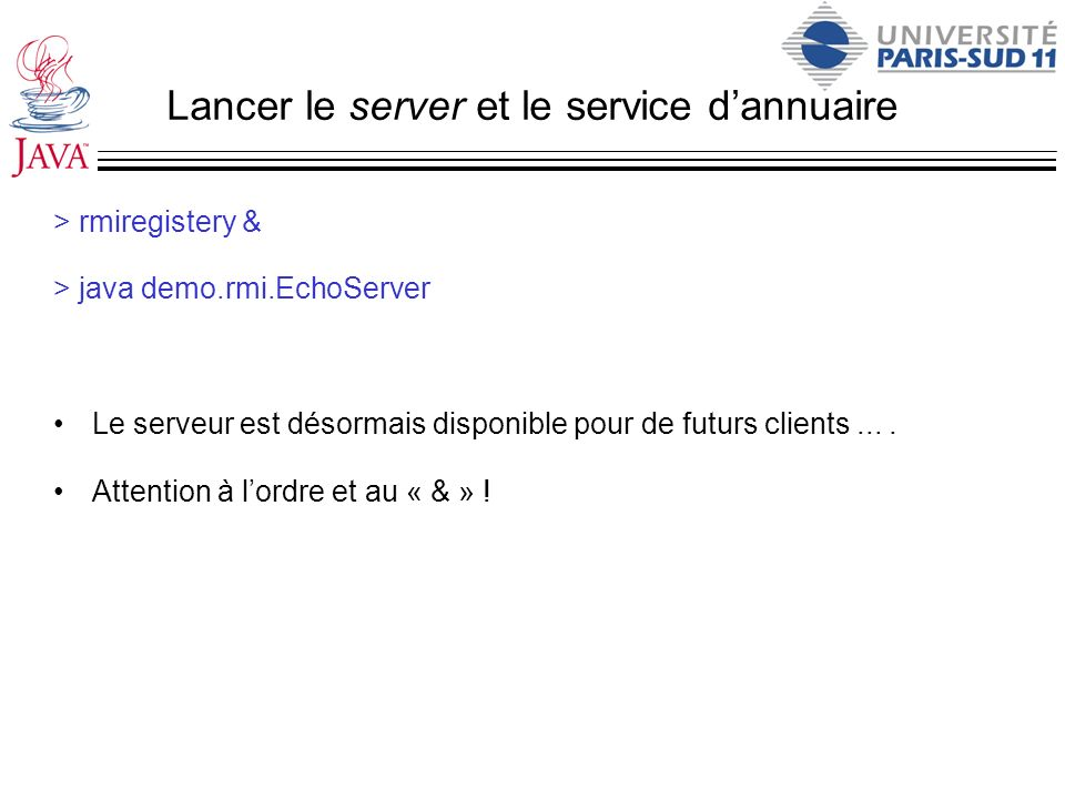 Lancer le server et le service d'annuaire
