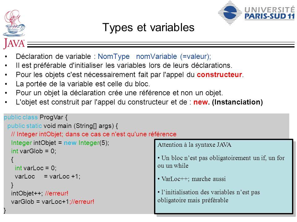 Types et variablesDéclaration de variable : NomType nomVariable (=valeur);