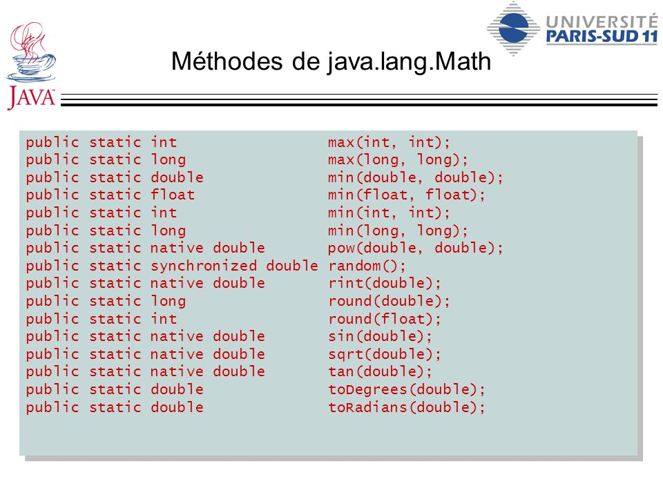Méthodes de java.lang.Math