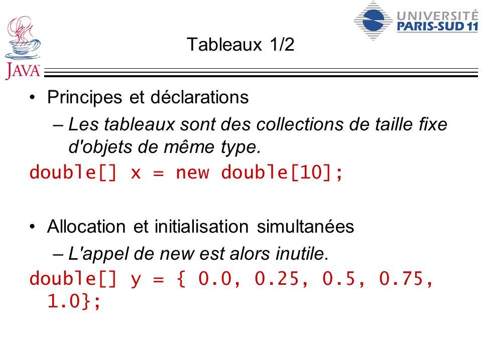 Tableaux 1/2 Principes et déclarations. Les tableaux sont des collections de taille fixe d objets de même type.