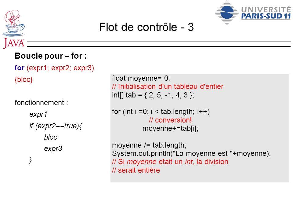 Flot de contrôle - 3 Boucle pour – for : for (expr1; expr2; expr3)
