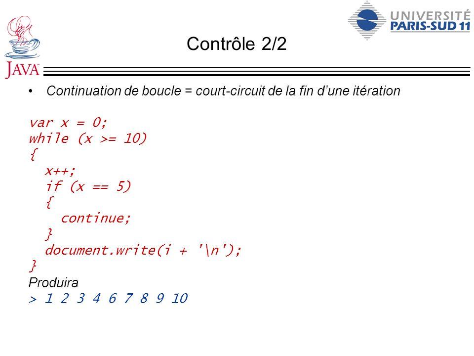Contrôle 2/2Continuation de boucle = court-circuit de la fin d'une itération. var x = 0; while (x >= 10)