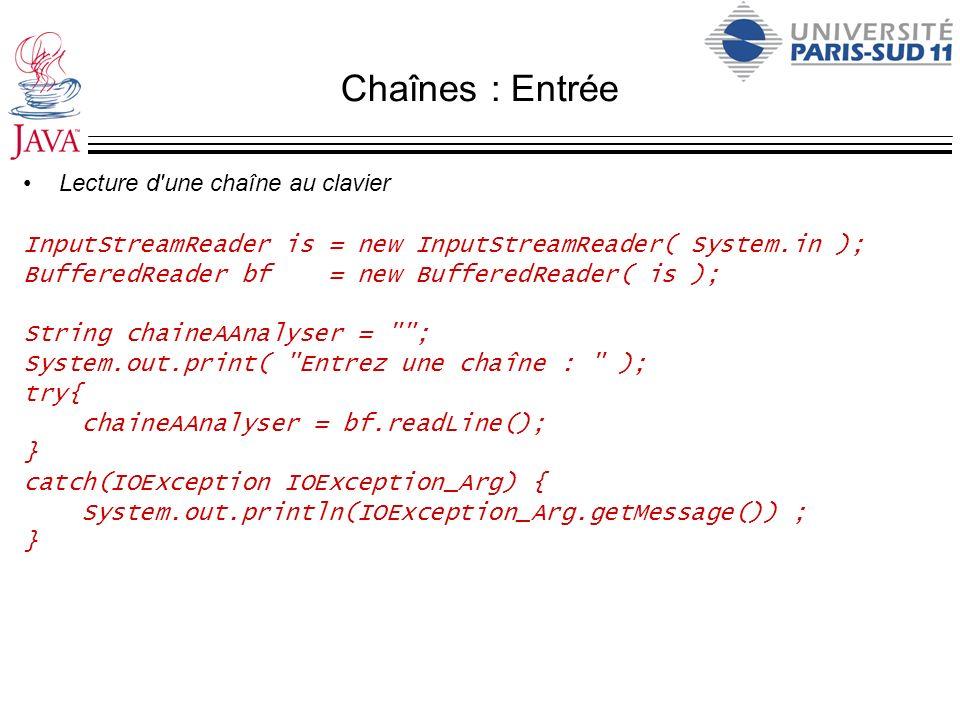 Chaînes : Entrée Lecture d une chaîne au clavier