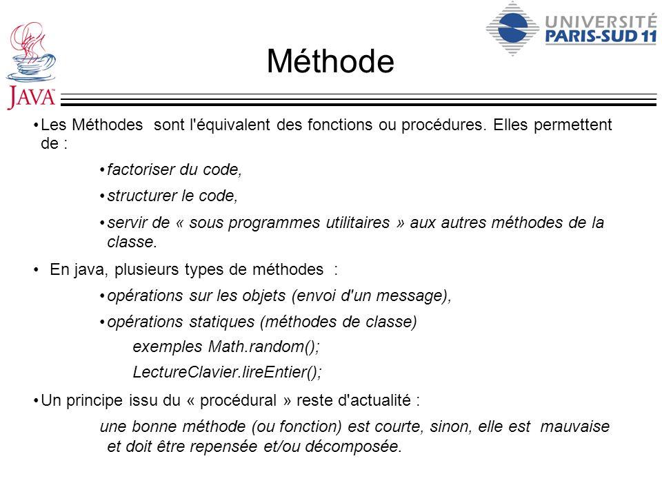 MéthodeLes Méthodes sont l équivalent des fonctions ou procédures. Elles permettent de : factoriser du code,