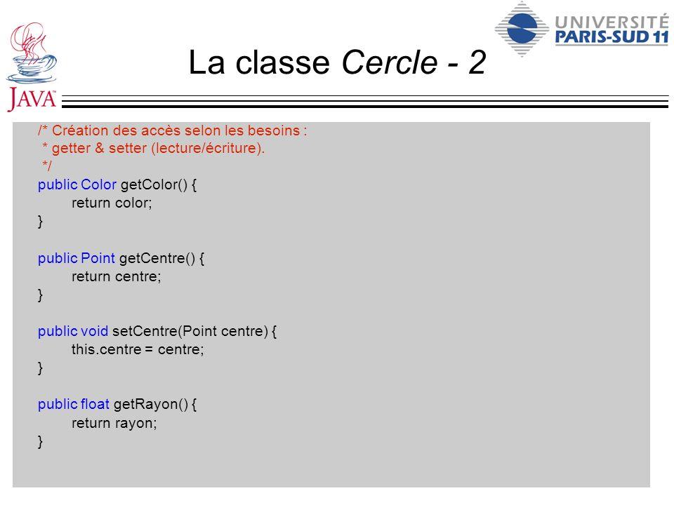 La classe Cercle - 2 /* Création des accès selon les besoins :