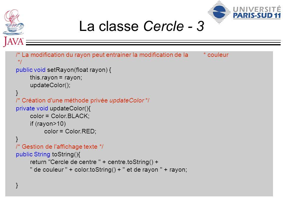 La classe Cercle - 3 /* La modification du rayon peut entrainer la modification de la * couleur.