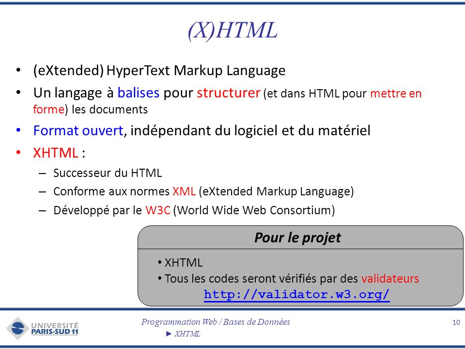 (X)HTML (eXtended) HyperText Markup Language