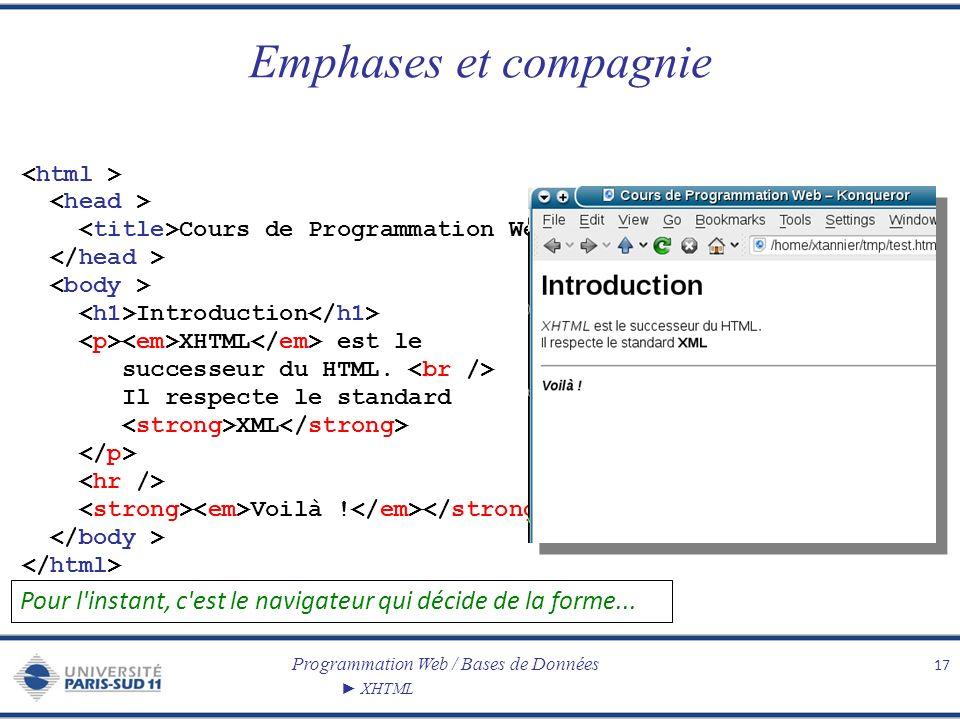 Emphases et compagnie <html > <head > <title>Cours de Programmation Web</title> </head > <body >
