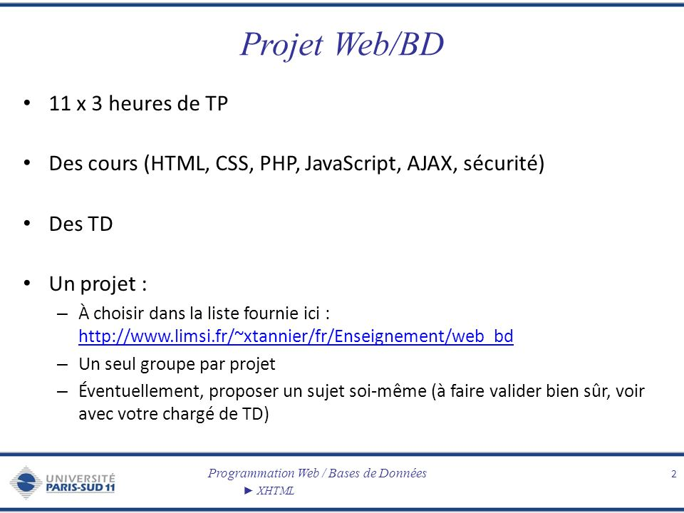 Projet Web/BD 11 x 3 heures de TP