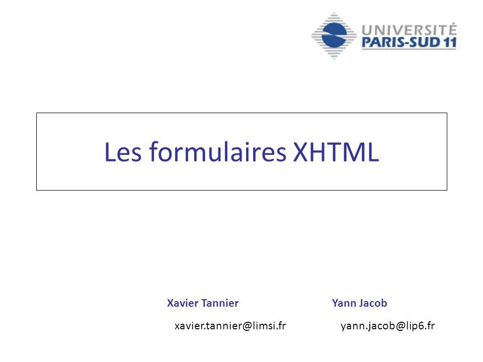 Les formulaires XHTML