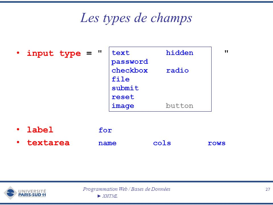 Les types de champs input type = label for textarea name cols rows