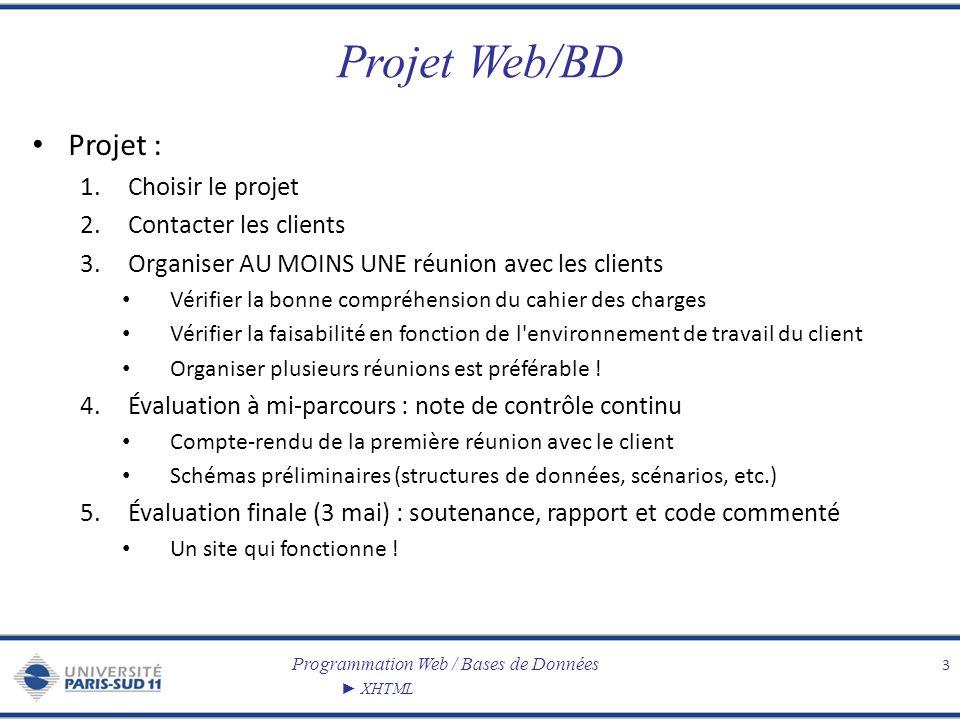 Projet Web/BD Projet : Choisir le projet Contacter les clients